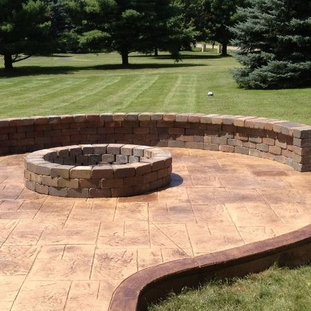 stamped concrete firepit