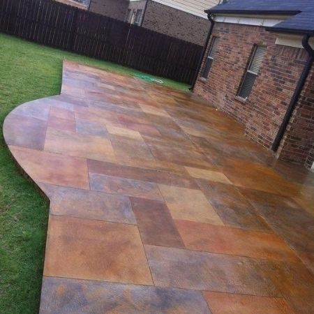 stained stamped patio